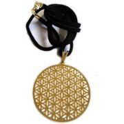 Talismã Colar Mandala Flor da Vida - Dourado com cordão de couro sintético