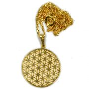 Talismã Colar Mandala Flor da Vida Pequeno - Dourado