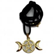 Talismã Colar Triluna - Dourado com Cordão de Couro