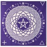 Toalha Mandala Astrológica Pentagrama - Roxa