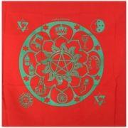 Toalha para Tarô - Mandala Cigana Vermelha