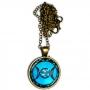 Talismã Colar Triluna Pentagrama - Dourado com Acrílico