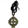 Talismã Colar Cruz Celta - Dourado com Cordão