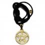 Talismã Colar Pentagrama - Dourado Grande com Cordão de Couro