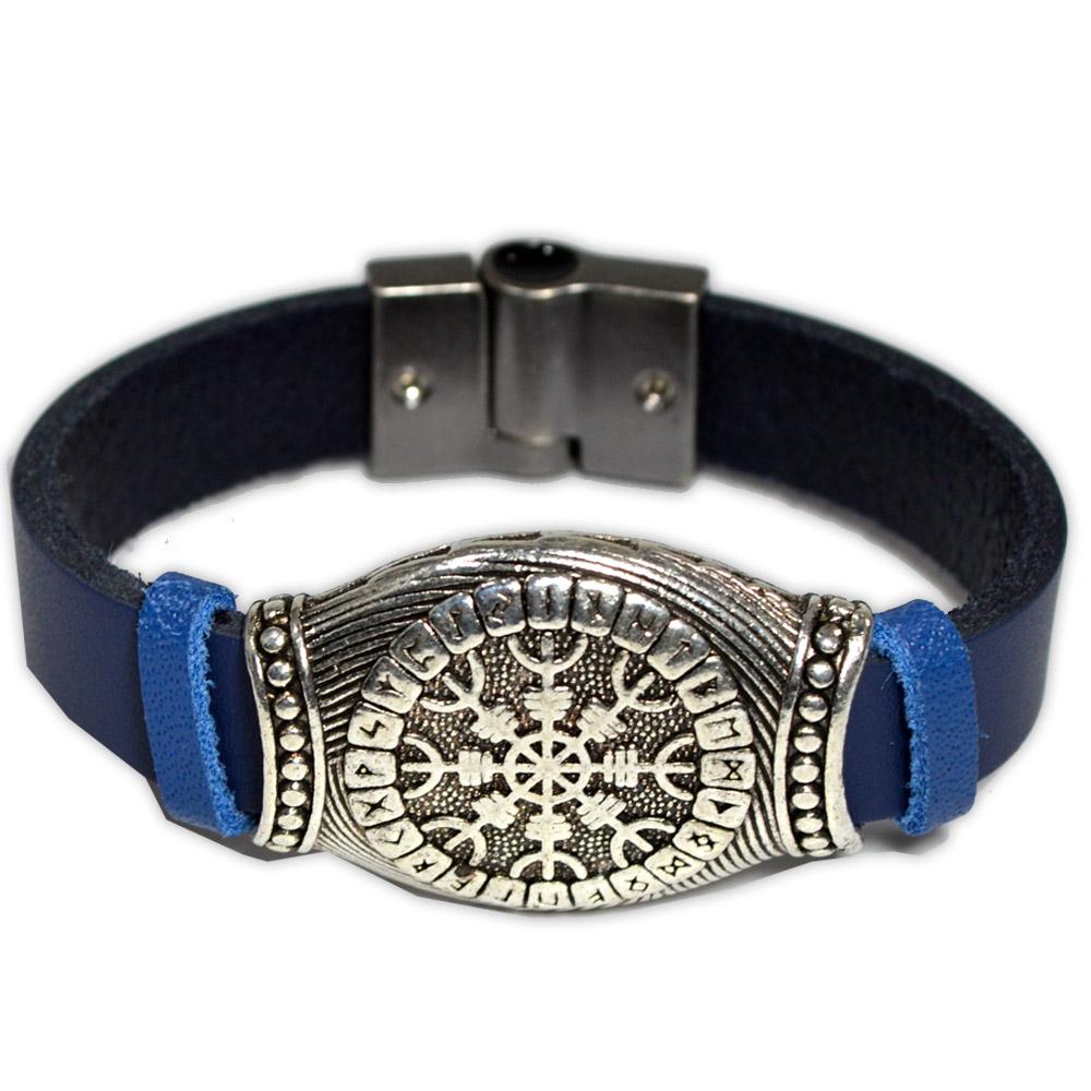 Bracelete de Couro Azul - Elmo do Terror