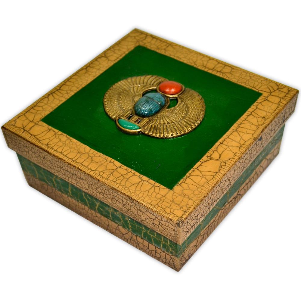 Caixa Egípcia Média Verde - Escaravelho