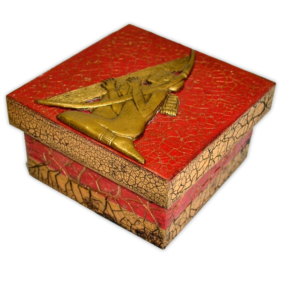 Caixa Egípcia Pequena Vermelha - Harpista