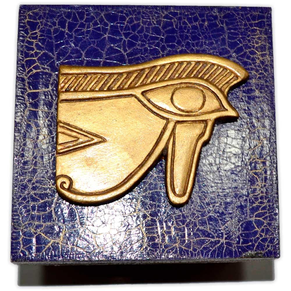 Caixa Egípcia Pequena Azul - Olho de Hórus