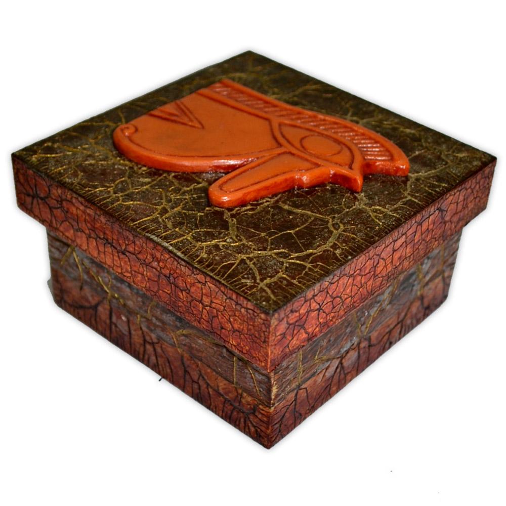 Caixa Egípcia Pequena Vermelho - Olho de Hórus