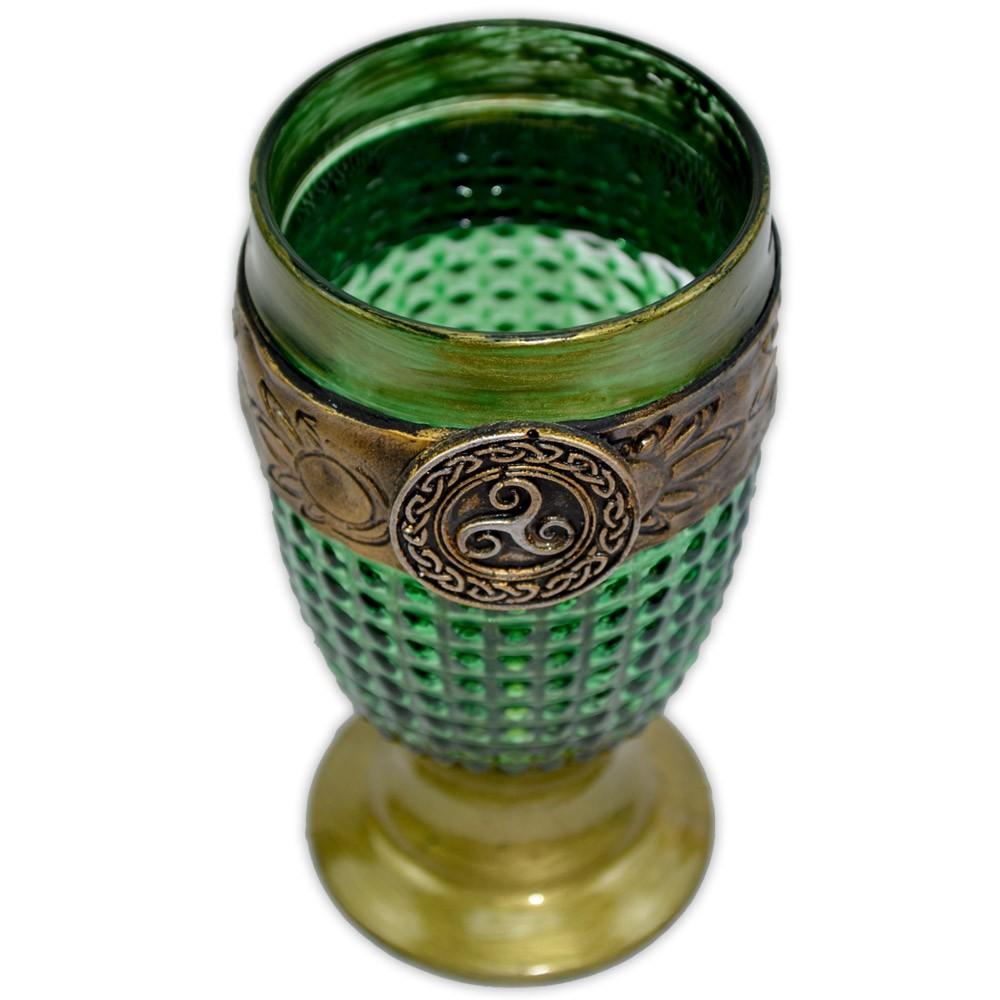 Cálice Medieval - Triskle Verde e Dourado