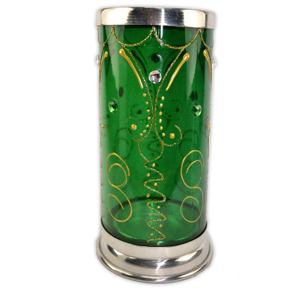 Castiçal Decorado para Vela 7 Dias - Verde