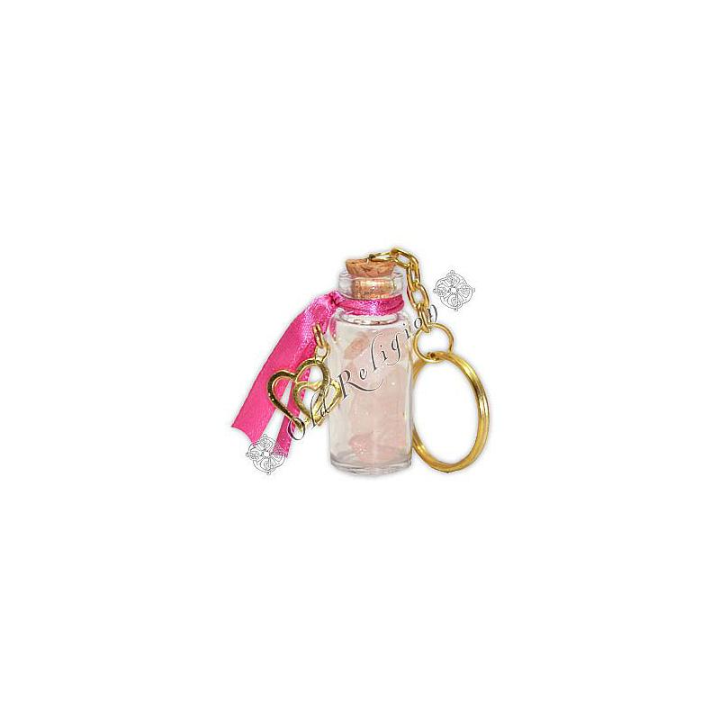 Chaveiro Amuleto de Cristal - Quartzo Rosa