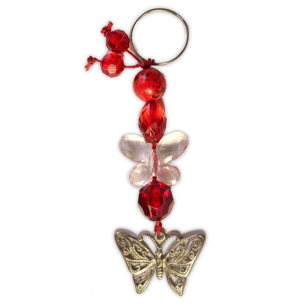 Chaveiro Borboleta - com miçangas vermelhas