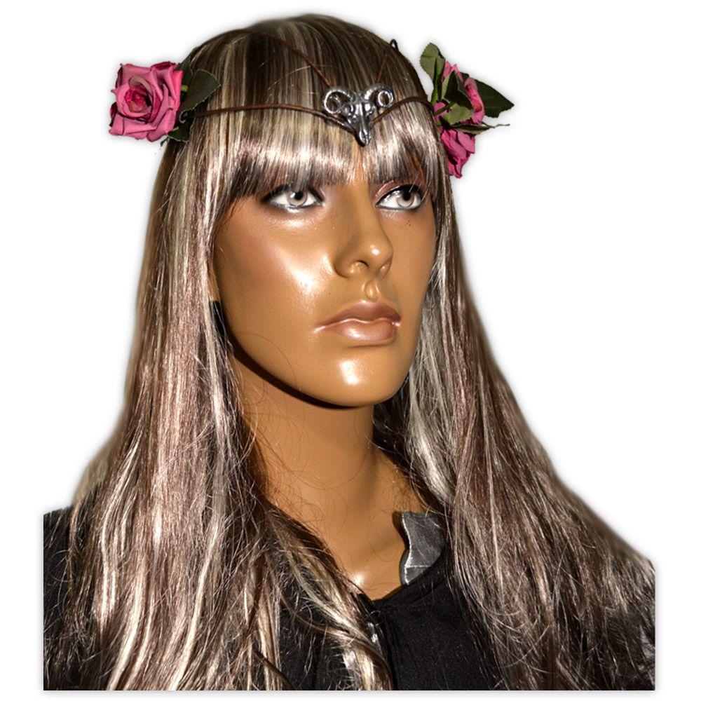 Circlet Carneiro com Flores Rosa