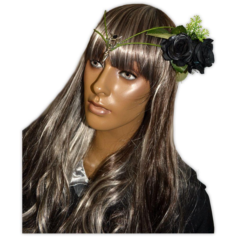 Circlet Deusa com Flores Preta mod.1