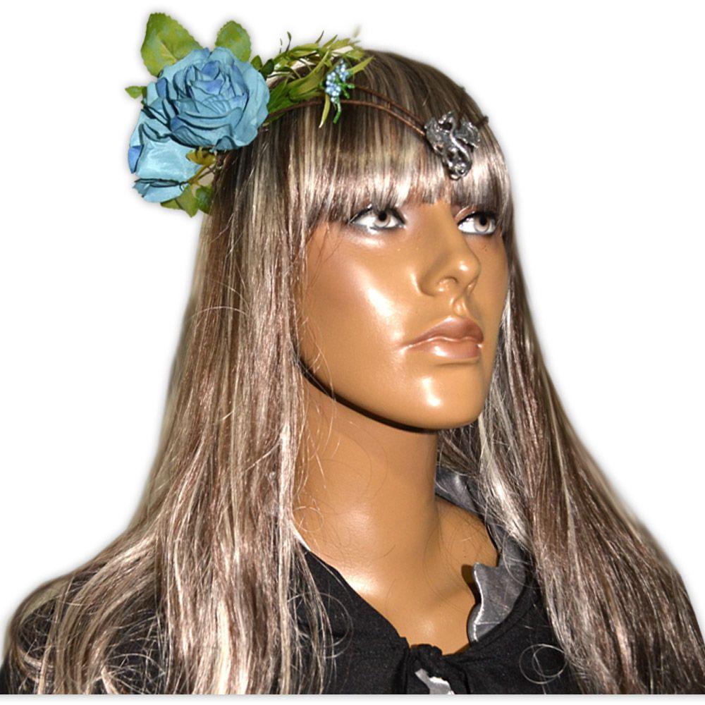 Coroa Dragão com Flores Azul