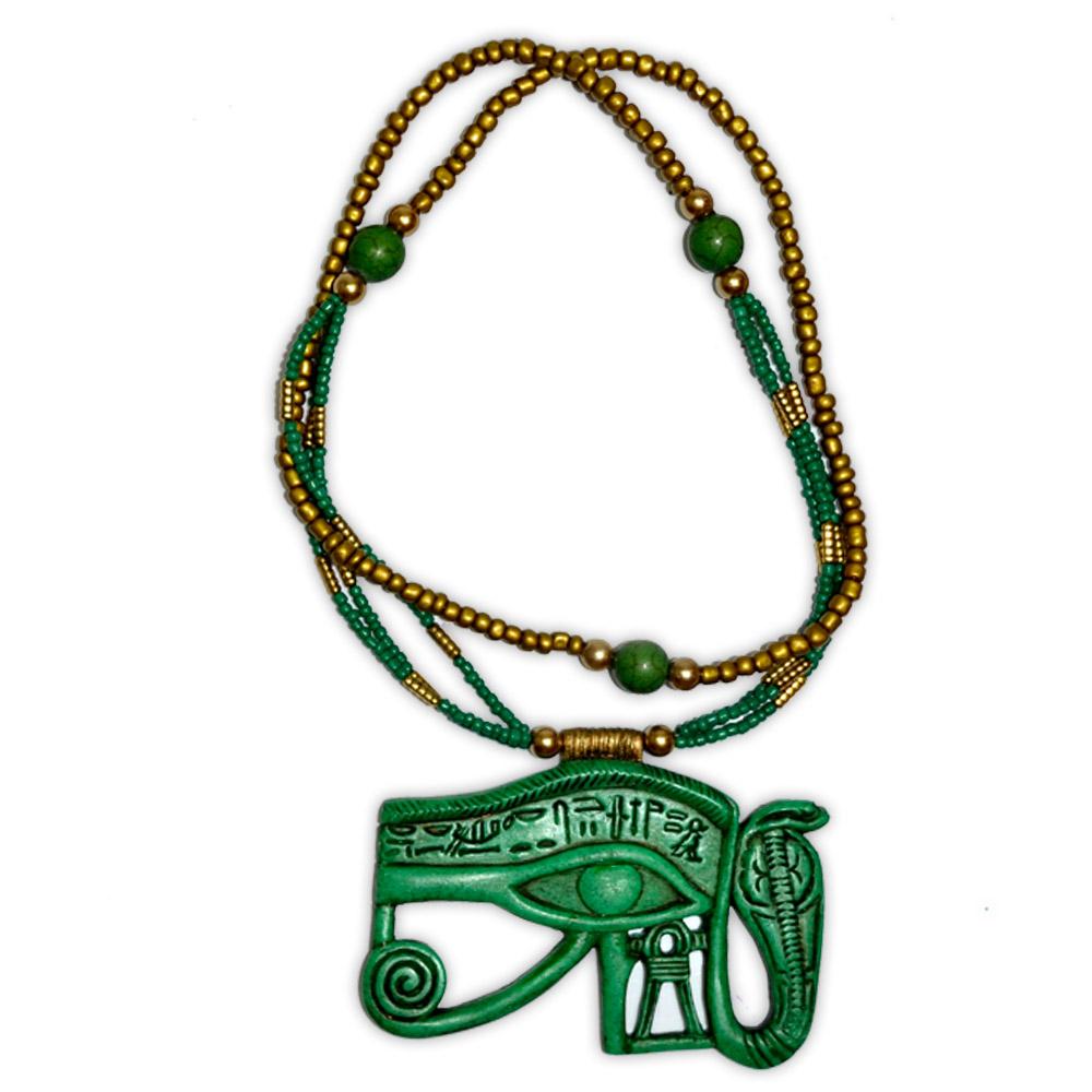 Talismã Colar Egípcio Olho de Hórus e Uraeus - de Resina mod. 1