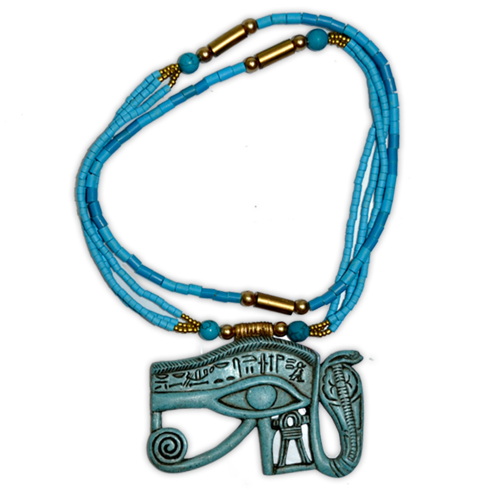 Talismã Colar Egípcio Olho de Hórus e Uraeus - de Resina mod. 2