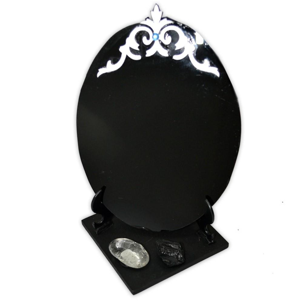 Espelho Negro com Base - Turmalina Negra e Quartzo de Cristal mod. 2