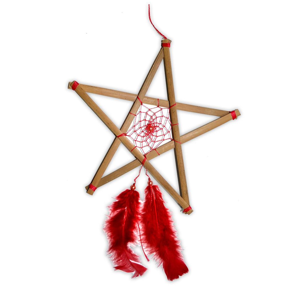 Filtro dos Sonhos Pentagrama - Vermelho