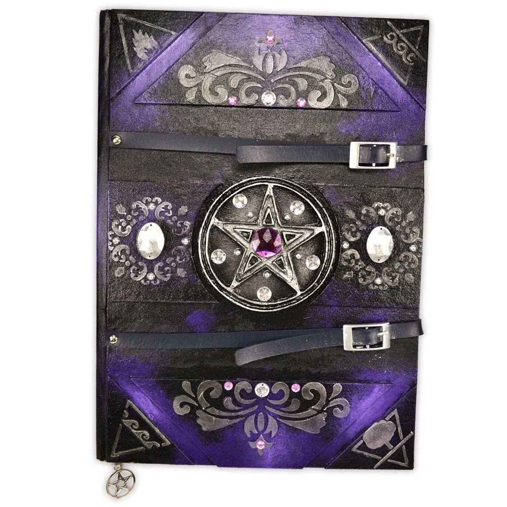 Grimório Tam. 31x22cm 300 pág. (sem pautas) - Pentagrama Roxo