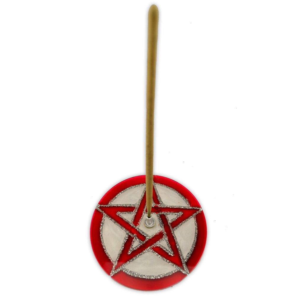 Incensário de Vidro - Pentagrama Vermelho