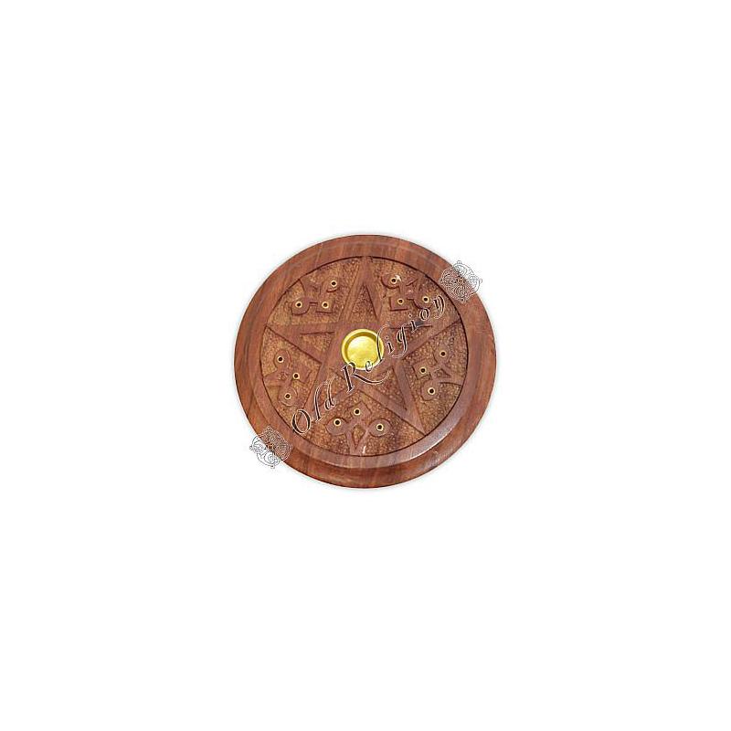 Incensário Pentagrama em Madeira - para 15 incensos