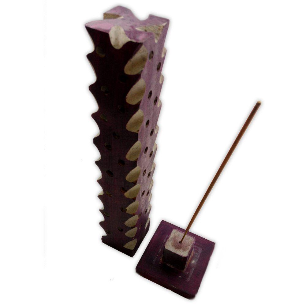 Incensário Torre Pedra Sabão - Lilás