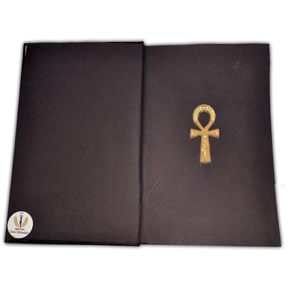 Livro das sombras peq - Cruz Ansata (dourada)