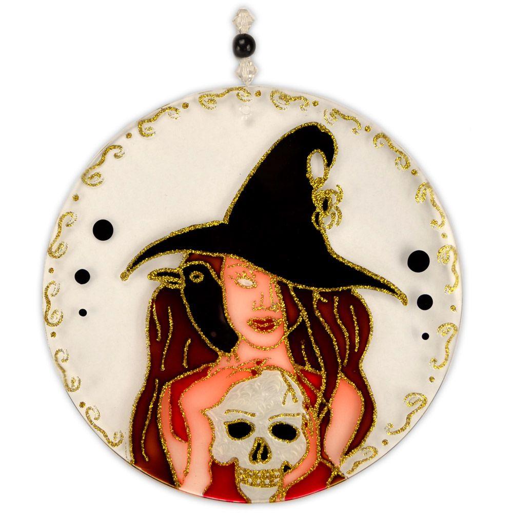 Mandala Bruxa com caveira 20cm