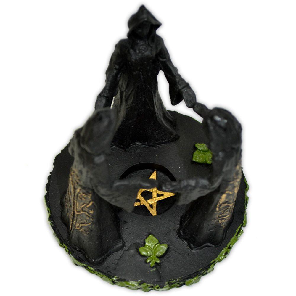 Castiçal Círculo Deusa Tríplice - Preto