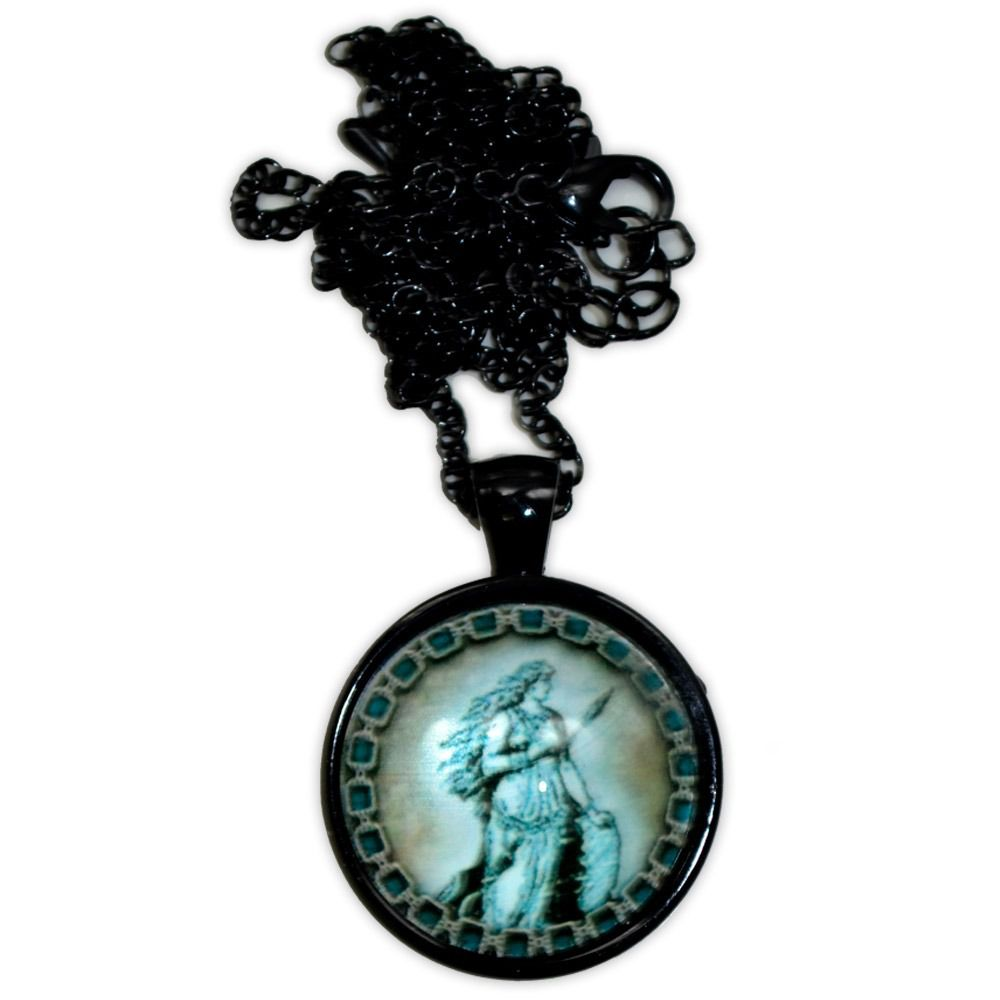 Talismã Colar Deusa Freya - Preto com Acrílico