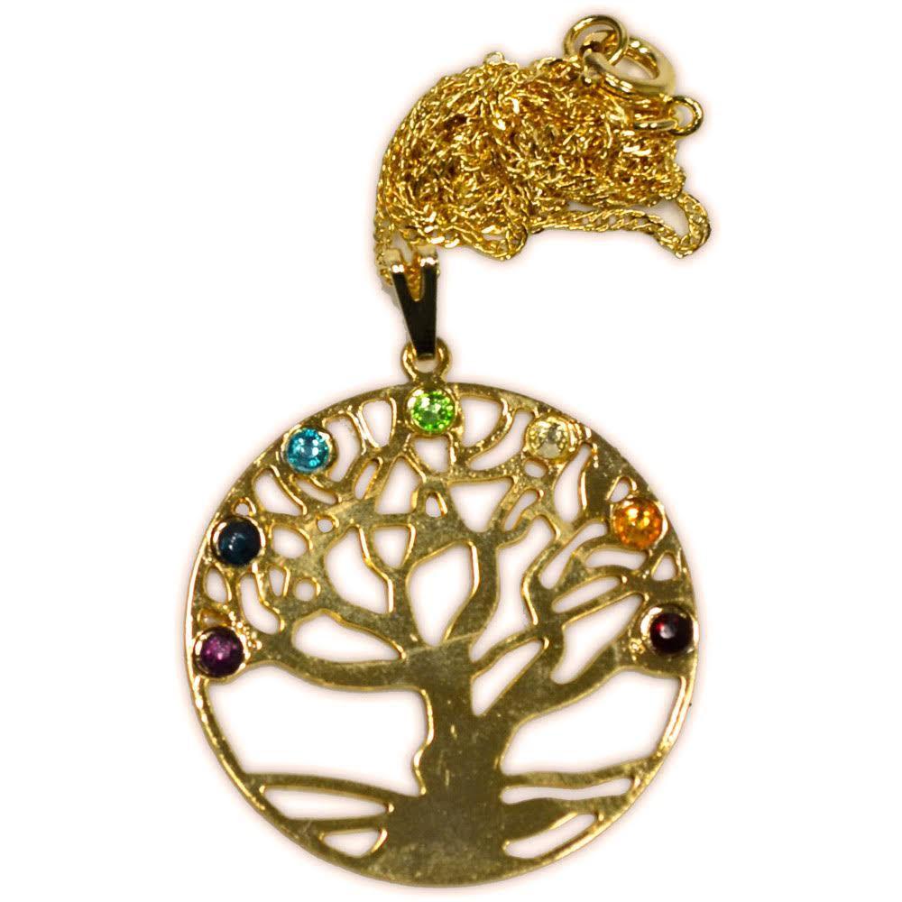 Talismã Árvore da Vida, Criação e Imortalidade - Dourado com Cristais