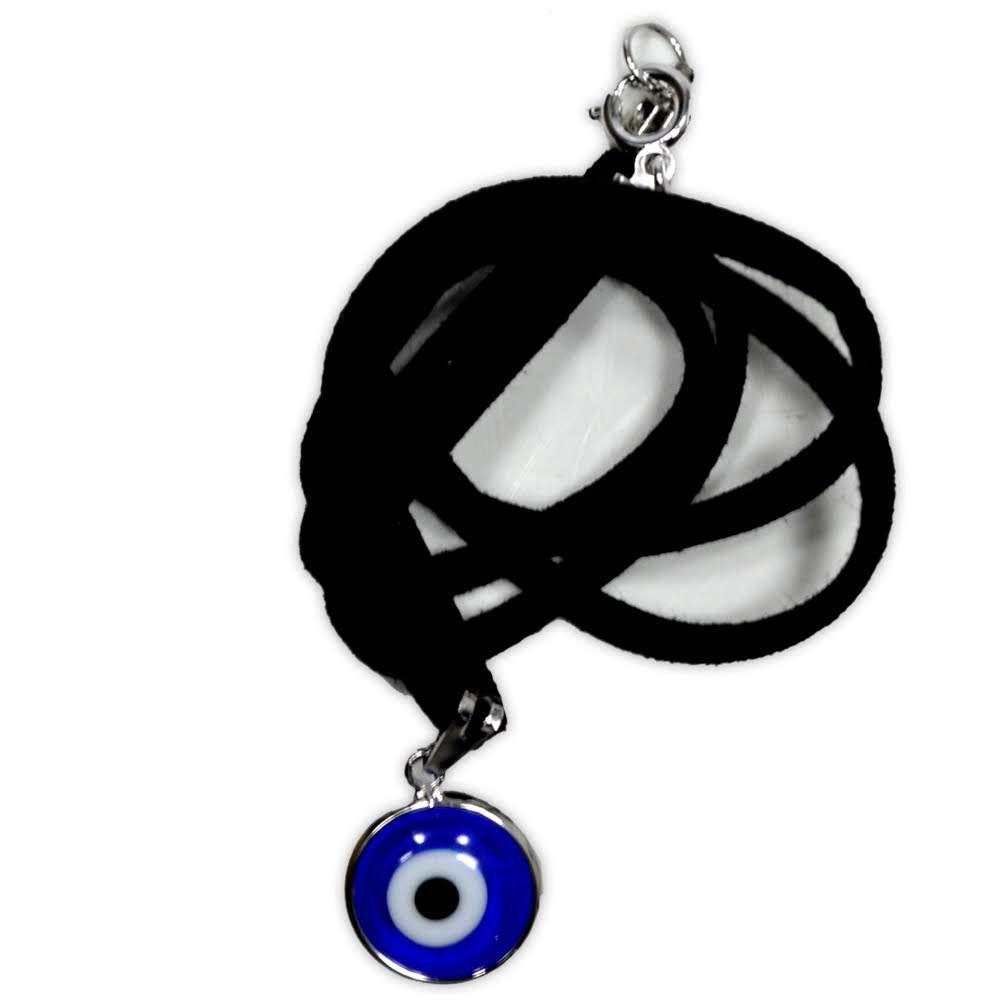 Talismã Colar Olho Grego - Prateado mod.1 com cordão de couro sintético