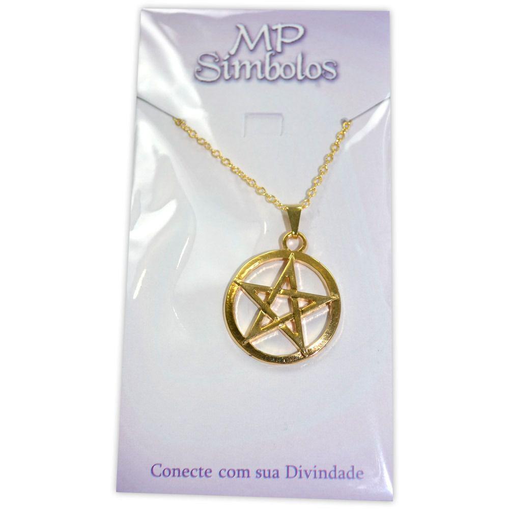 Talismã Colar Pentagrama - Dourado