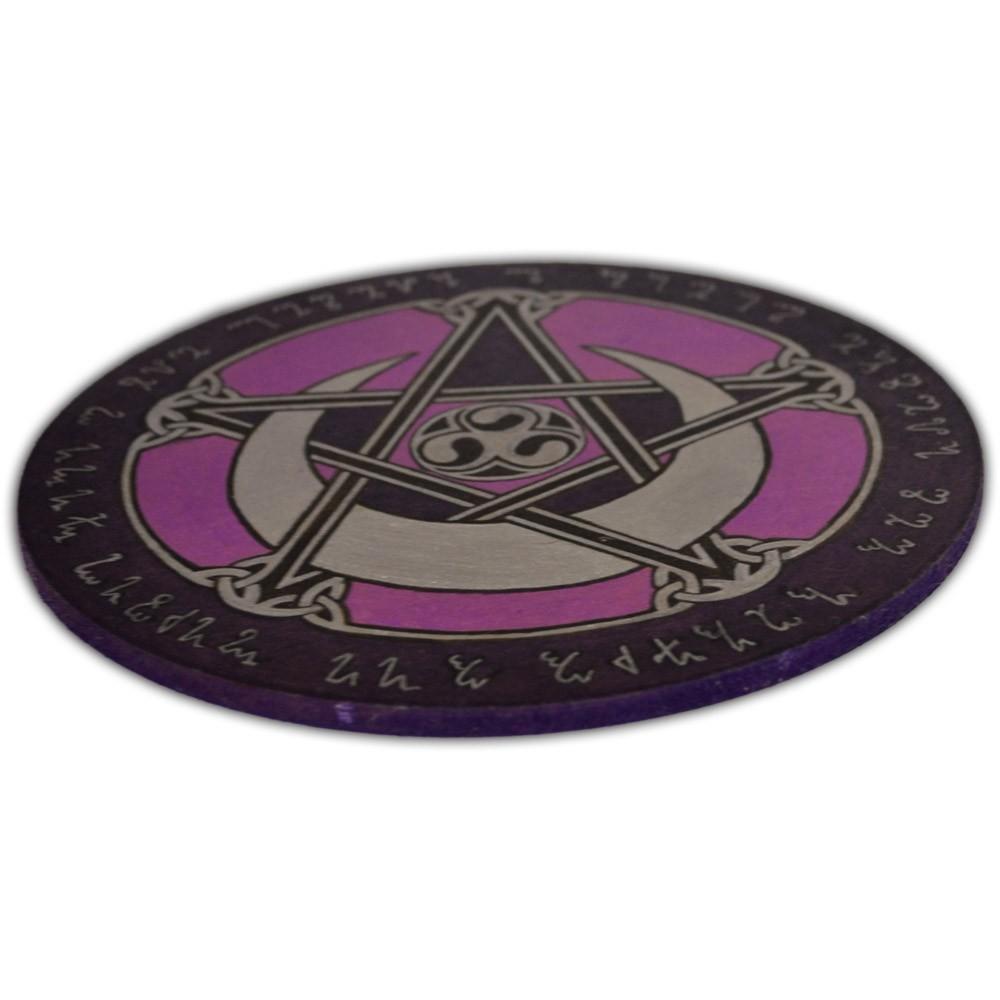 Pentáculo 20cm roxo - Lei Wicca