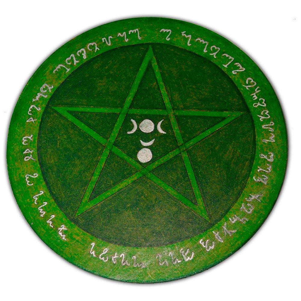 Pentáculo 20cm verde - Deusa e Deus