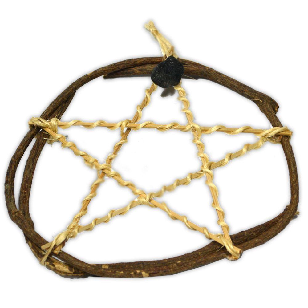 Pentagrama de Bambu e Junco com Turmalina Negra - Proteção
