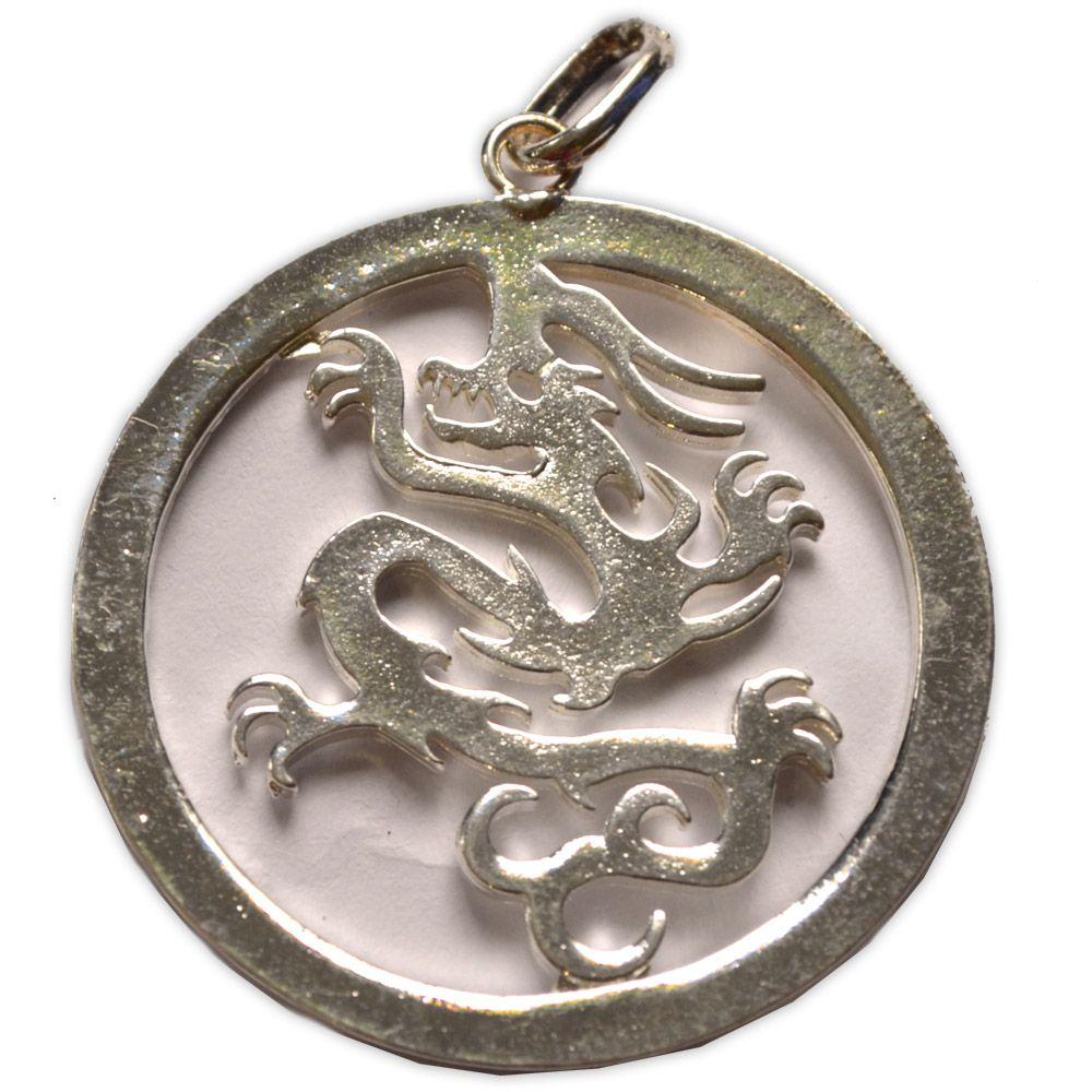 Pingente Banhado a Prata - Dragão