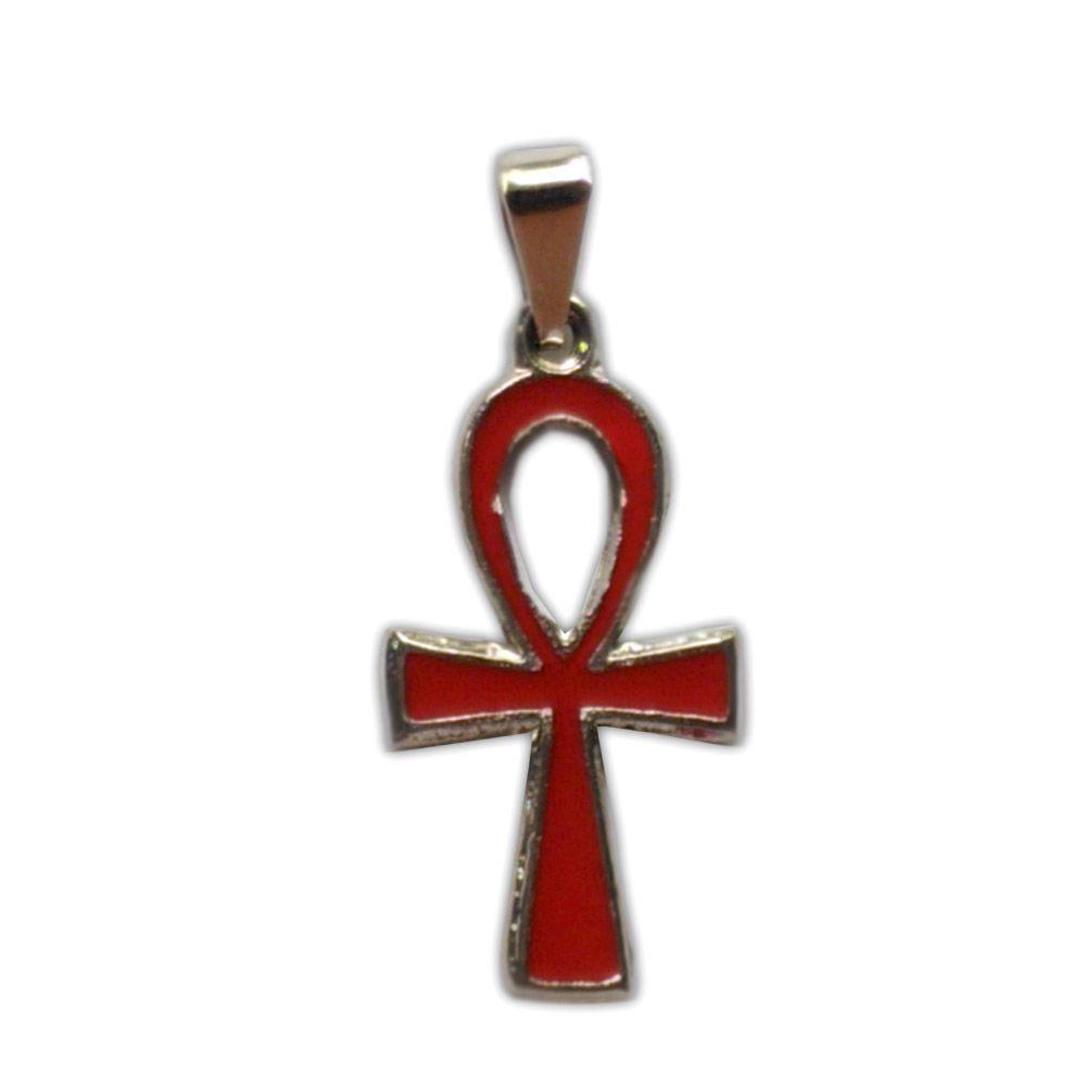 Pingente Cruz Ansata, Talismã de Proteção e Imortalidade - Vermelho