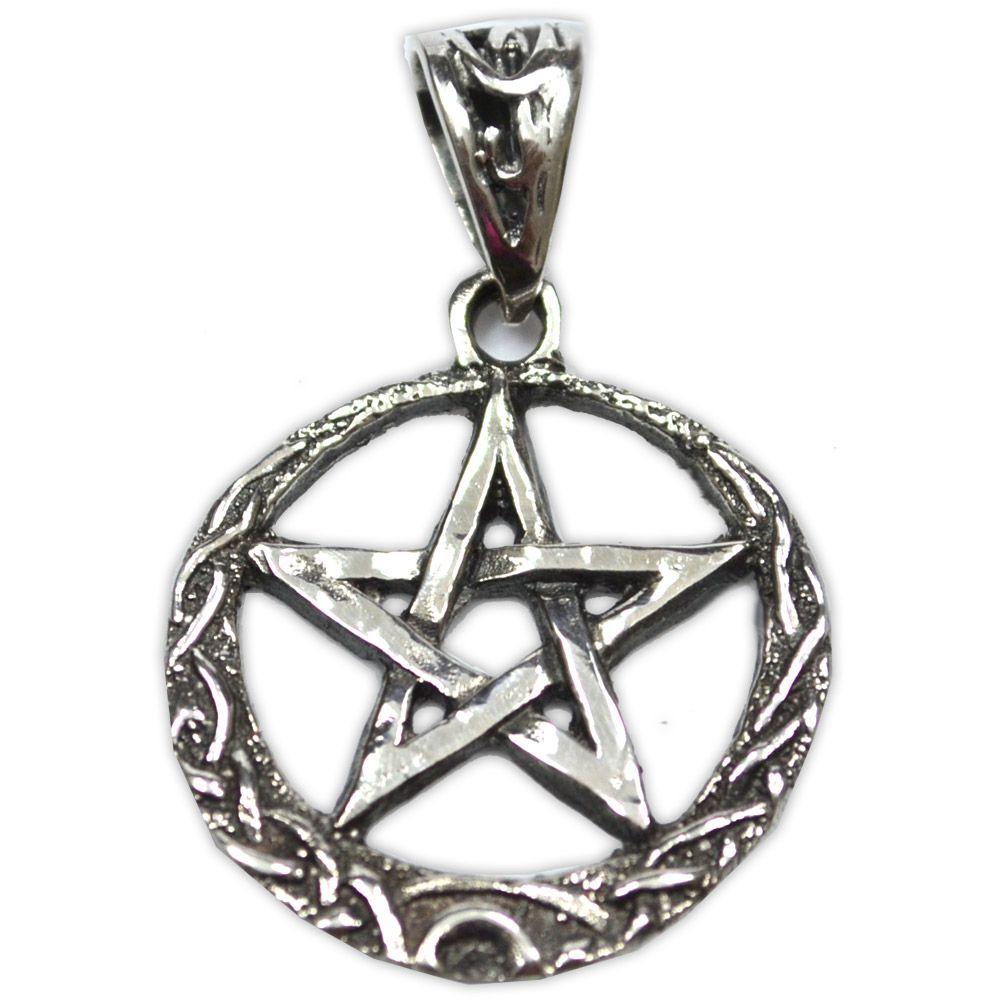 Talismã Wicca Pentagrama, Amuleto de Proteção mod. 12 - Prata 925