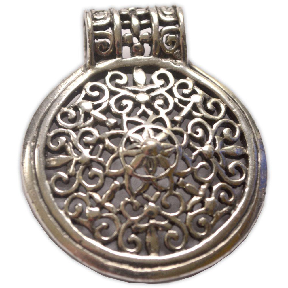 Talismã Mandala, de Meditação - Banhado a Prata
