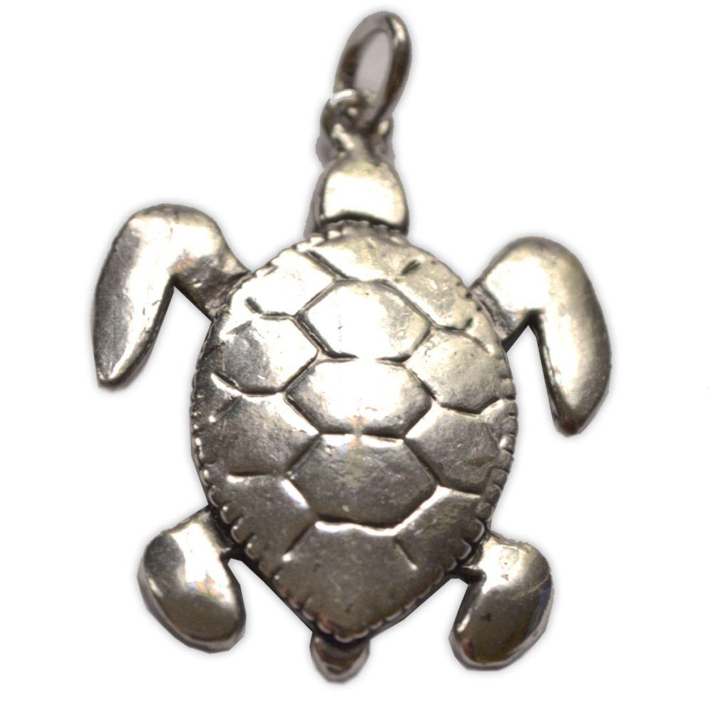 Pingente em Bronze Banhado a Prata - Tartaruga