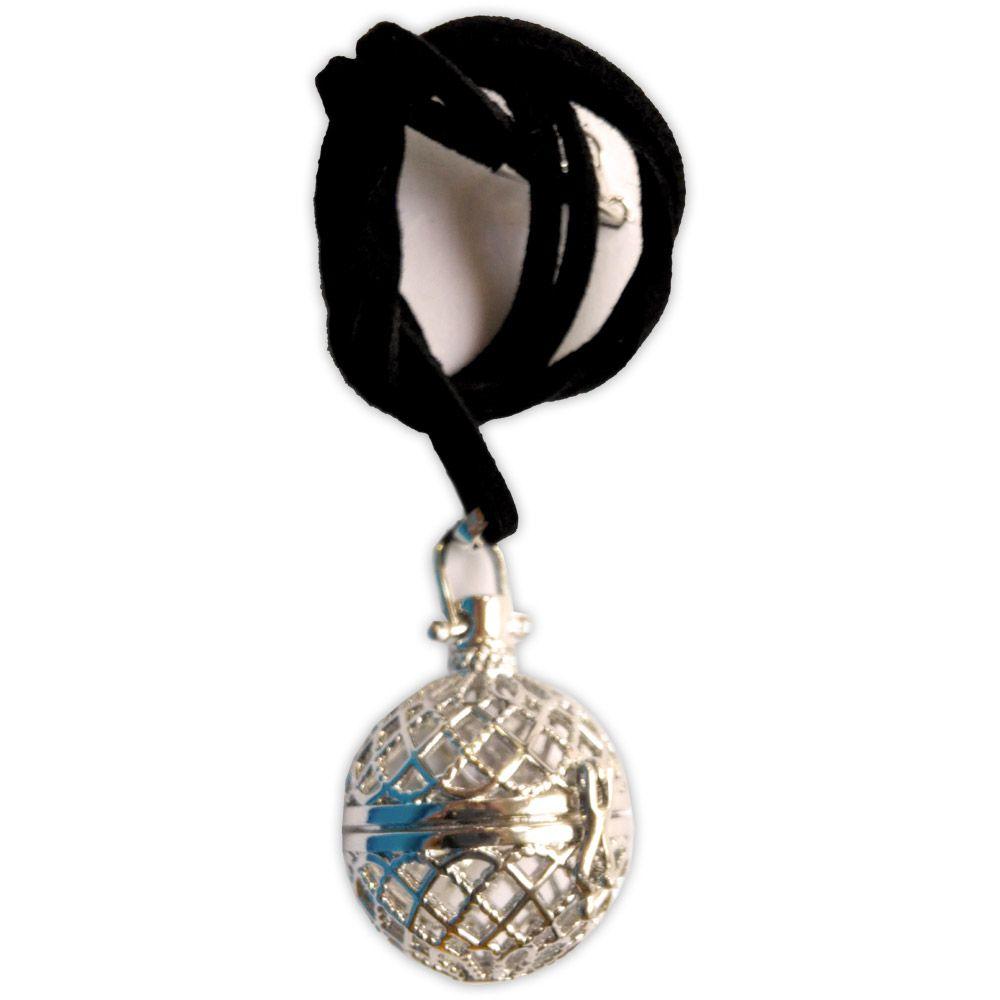 Porta Feitiço Esfera - Prateado com cordão de couro sintético
