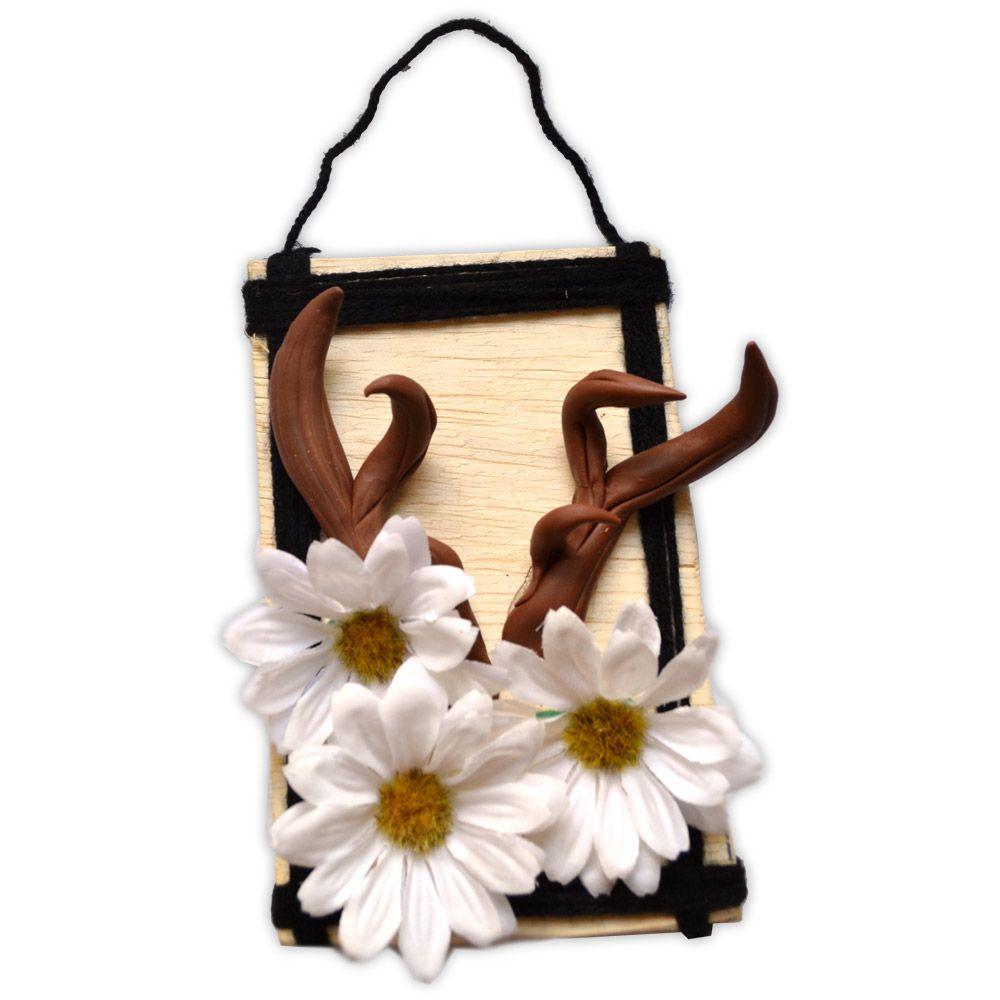 Quadro Chifres com Flores - modelo 2