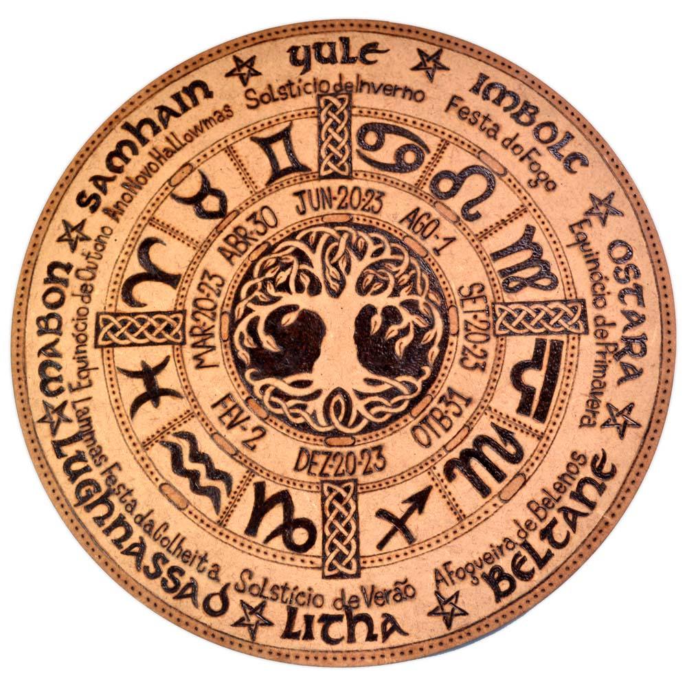 Roda do Ano/ Signos do Zodíaco 25cm - Árvore da Vida