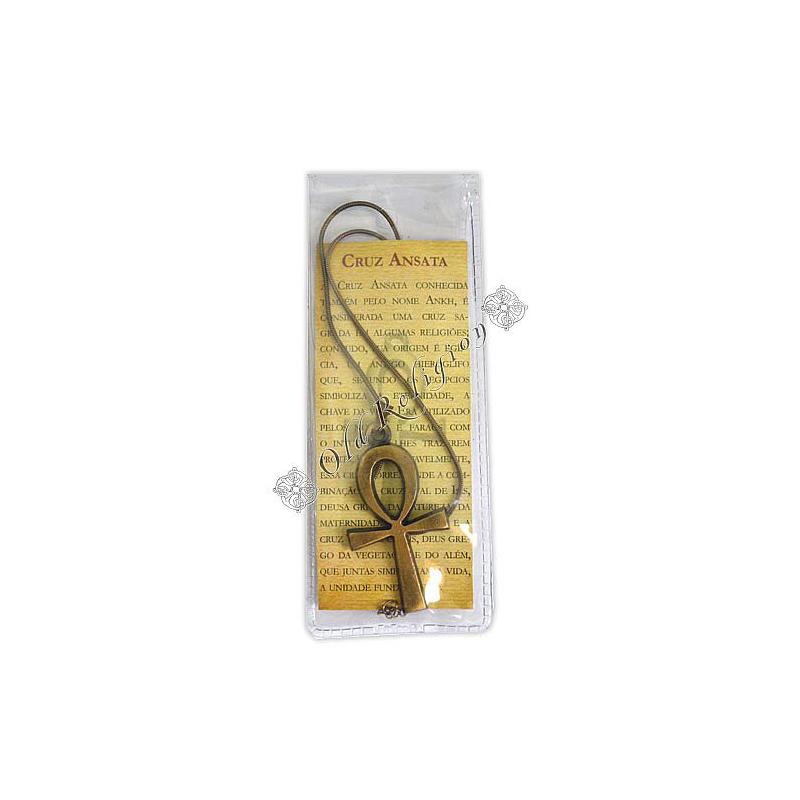 Talismã Cruz Ansata - Dourado com cordão