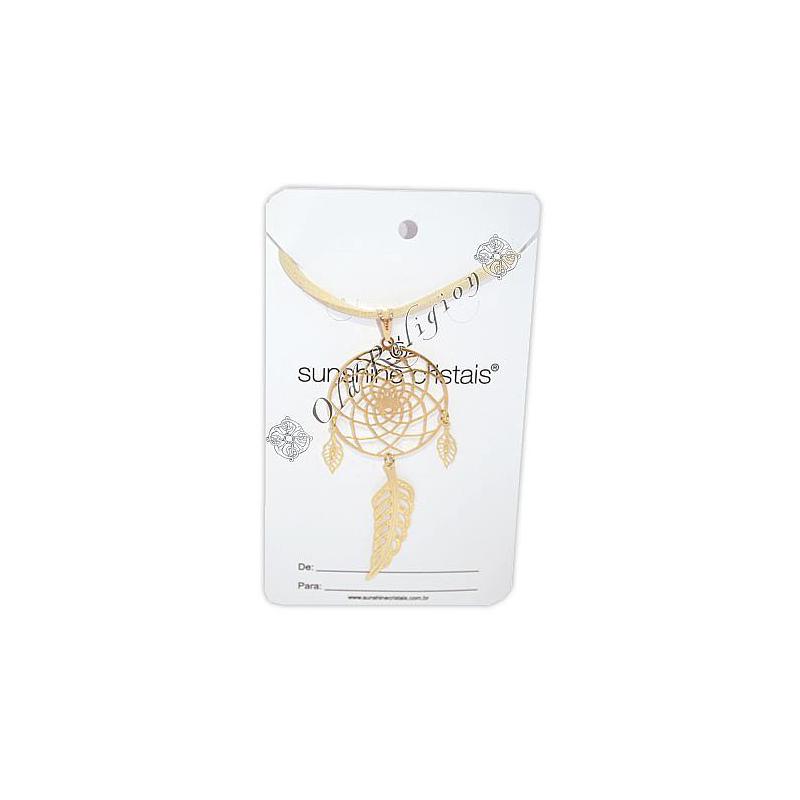 Talismã Filtro dos Sonhos - Dourado (cordão de couro)