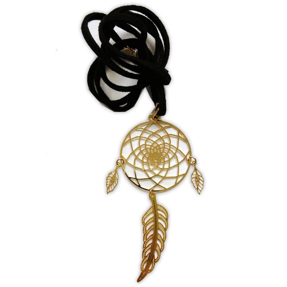 Talismã Filtro dos Sonhos - Dourado (cordão de couro sintético)