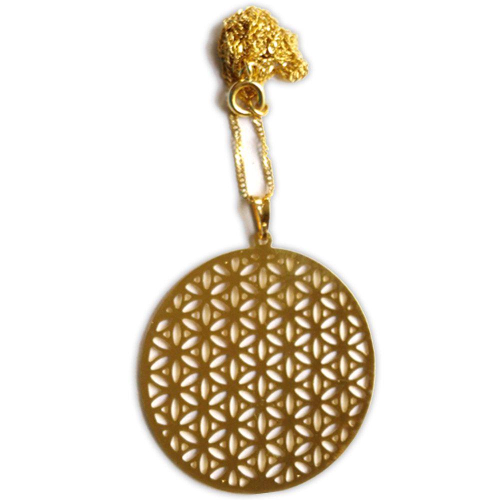 Talismã Colar Mandala Flor da Vida - Dourado